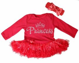 Babyjurk Princess rood + haarband (mt 80/86)