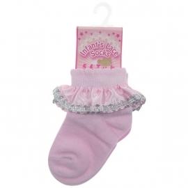 Baby sokjes roze, zilveren rand