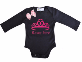 Baby shirt kroon zwart + eigen naam lange/korte mouw