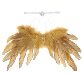 Newborn engelen vleugels goud + haarband