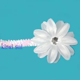 Haarband glitter wit bloem