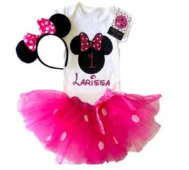 Minnie Mouse verjaardagset pink 1 jaar (3-delig) + NAAM
