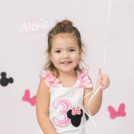 Shirt Minnie Mouse roze, getal 5 (maat 122/128)