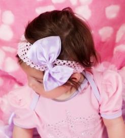 Haarband roze strik stippen lavendel