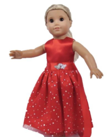 poppen jurkje rood