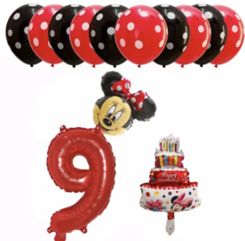 Minnie Mouse ballon set ROOD 9 jaar (13-delig)