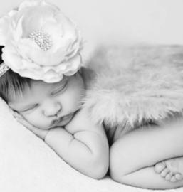 Newborn engelen vleugels wit+ haarband bloem*