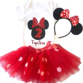 Minnie Mouse rood tutu verjaardagset 2 jaar (3-delig) + NAAM