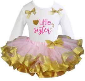Tutu Satijn set Little Sister lang/korte mouw roze