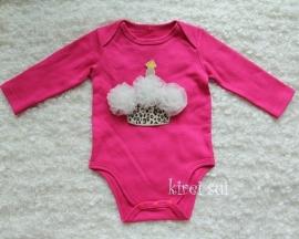 Baby romper pink Cupcake luipaard creme rozetten lange mouw