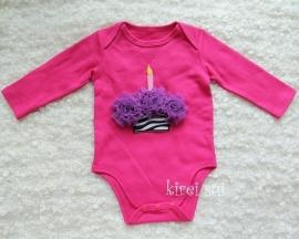 Baby romper pink Cupcake zebra paars lange mouw