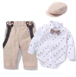 Jongens outfit met bretels, strik en pet (5-delig)