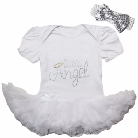 Babyjurk Little Angel lang/korte mouw wit + haarband