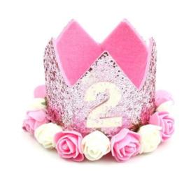 Haarband kroon glitter roze 2 jaar