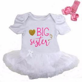 Babyjurk Big Sister lang/korte mouw wit + haarband