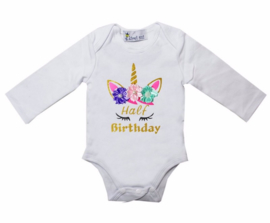 Unicorn verjaardag romper Half Birthday