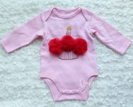 Baby romper roze Cupcake rood lange mouw