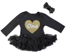 Baby jurkje zwart One hart goud+haarband lange/korte mouw