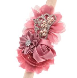 Haarband DUSTY PINK met bloemen en pareltjes