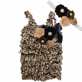 Baby Jumpsuit Luxe  Luipaard + haarband