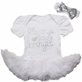 Babyjurk Mommy's Little Angel lang/korte mouw wit + haarband