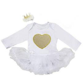 Babyjurk Hart wit + haarclip kroon