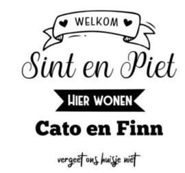Raamsticker Welkom Sint en Piet met namen kind(eren)