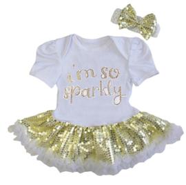 Babyjurk i'm So Sparkly goud glitter + haarband