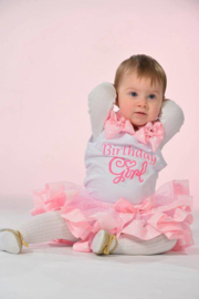 Tutu Satijn Roze + top Birthday Girl longsleeve