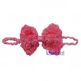 Haarband strik roosjes koraalrood