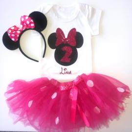Minnie Mouse verjaardagset pink 2 jaar (3-delig) + NAAM *