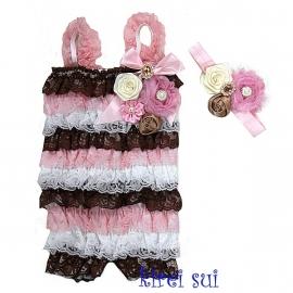 Jumpsuit LUXE chocola/wit/roze + bijpassende haarband