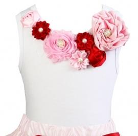 Top Roze/Rood satijnen roosjes