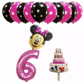Minnie Mouse ballon set ROZE 6 jaar (13-delig)