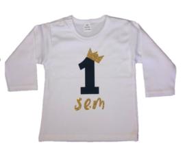 Shirt/romper jongen getal 1 t/m 5 zwart-goud met naam