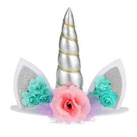 Unicorn taarttopper zilver