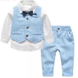 Gentleman jongenspak, blauw/wit