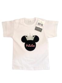 Minnie Mouse shirt zilveren kroon  + NAAM
