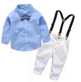 Jongens outfit lichtblauw met bretels en strik (4-delig)