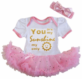 Babyjurk You are my Only Sunshine roze glitter  + haarband
