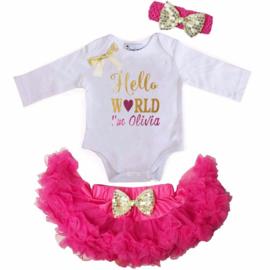 Romper set Hello World eigen naam wit/pink + haarband lang/korte mouw