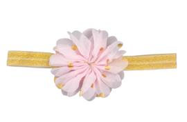 Haarband bloem , roze met goud