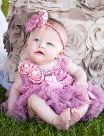 Jurk met roosjes LUXE vintage paars + haarband