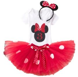 Minnie Mouse rood tutu verjaardagset 3 jaar (3-delig)