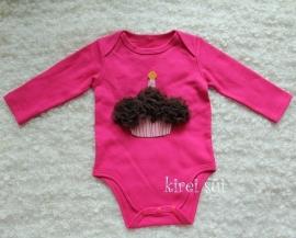 Baby romper pink Cupcake chocolade lange mouw