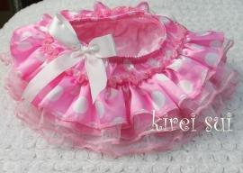 Luierbroekje roze met witte stippen