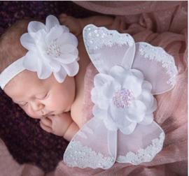 Newborn engelen vleugels wit strass + haarband
