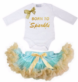 Born To Be Sparkle lang/korte mouw mint