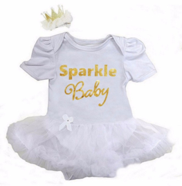 Babyjurk Sparkle Baby lang/korte mouw wit + haarclip kroon