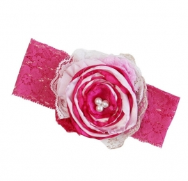 Haarband kant pink rozet parels